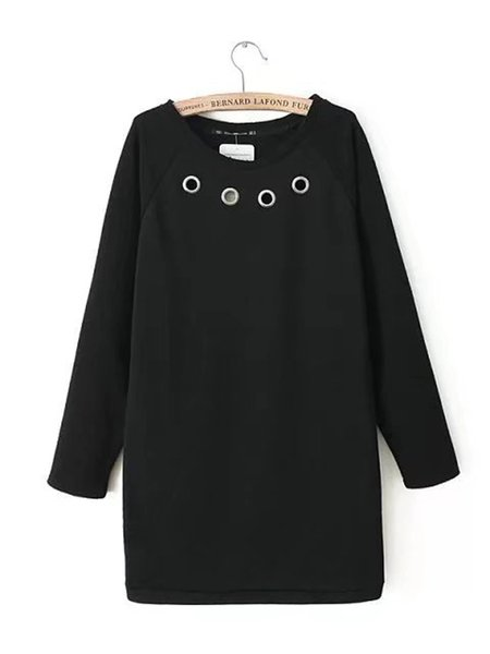Solid Crew Neck A-line Long Sleeve Dress
