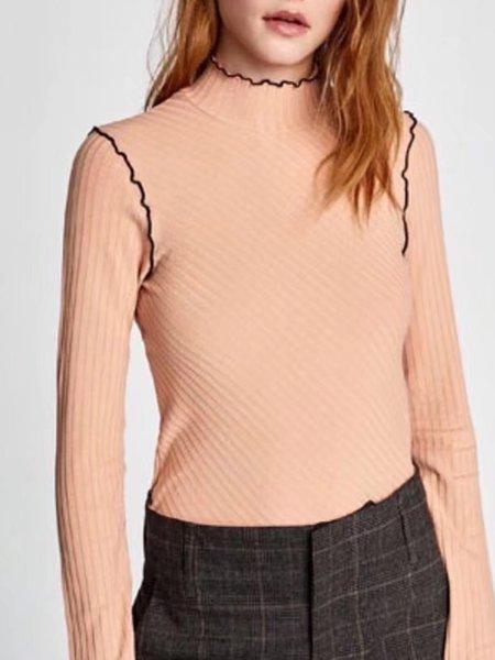 Turtleneck Solid Long Sleeve Cotton-blend T-Shirt