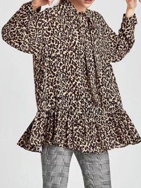 Cotton-blend Leopard Print Printed Simple Blouse