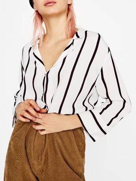 Simple Stripes Long Sleeve Cotton-blend Shirt