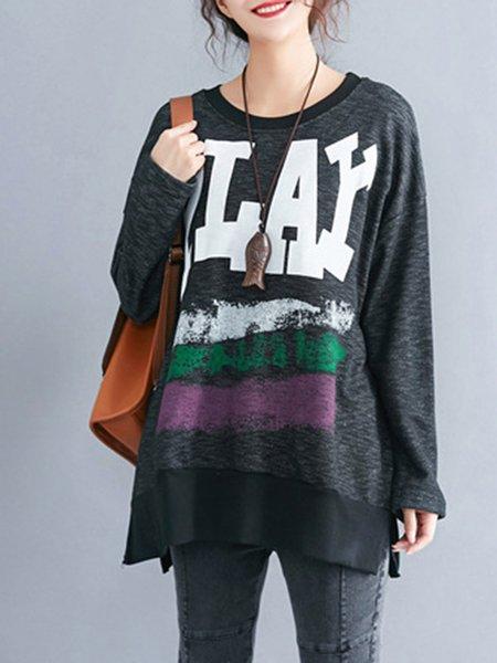 Gray Cotton-blend Letter Simple Sweatshirts & Hoody