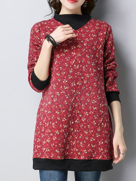 Crew Neck Linen Cotton Retro Pockets Long Sleeve Swing Dress