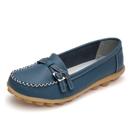 Solid Buckle Split Leather Non Slip Flats