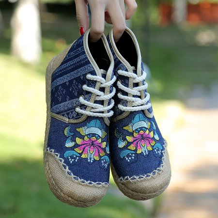 Vintage Embroidered Canvas Lace Up Boots