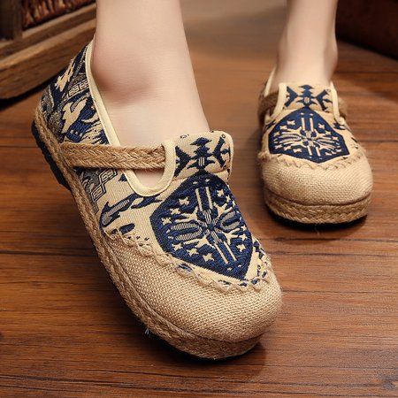 Embroidered Canvas Panel Linen Slip On Loafers