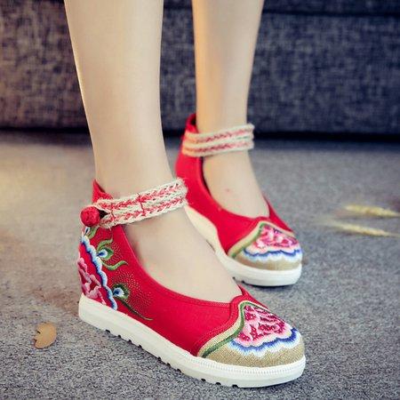 Canvas Braided Strap Platform Sandals