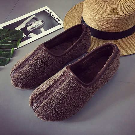 Women Soft Curly Plush Slip On Loafers