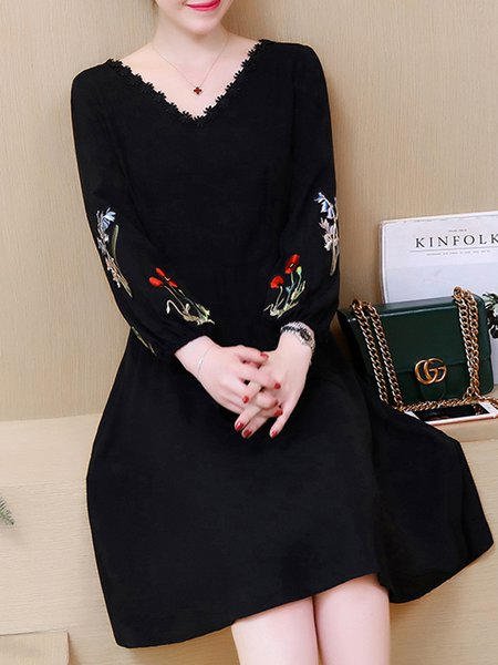 Black Solid Balloon Sleeve Cotton-blend Dress