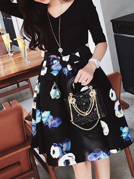 Elegant Cotton-blend Long Sleeve Dress