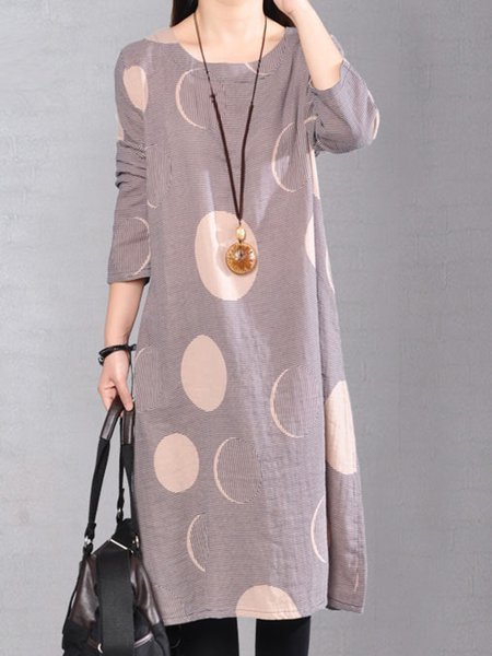 Long Sleeve Cotton-blend Swing Crew Neck Casual Dress