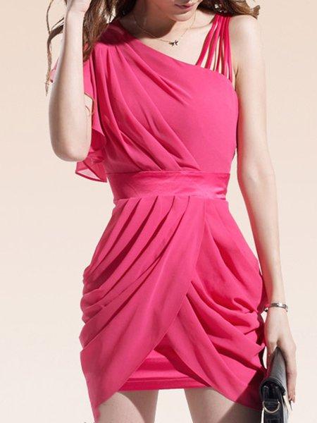 Sleeveless Sheath Elegant Chiffon Gathered Dress