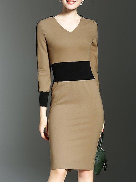 Khaki Crew Neck Paneled Elegant Dress
