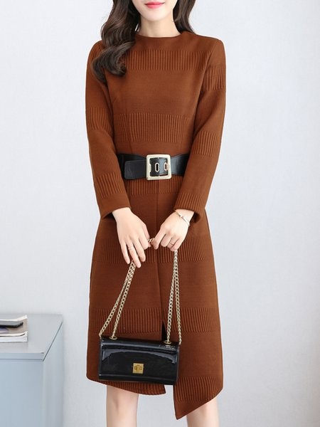 Long Sleeve Sheath Solid Cotton-blend Dress