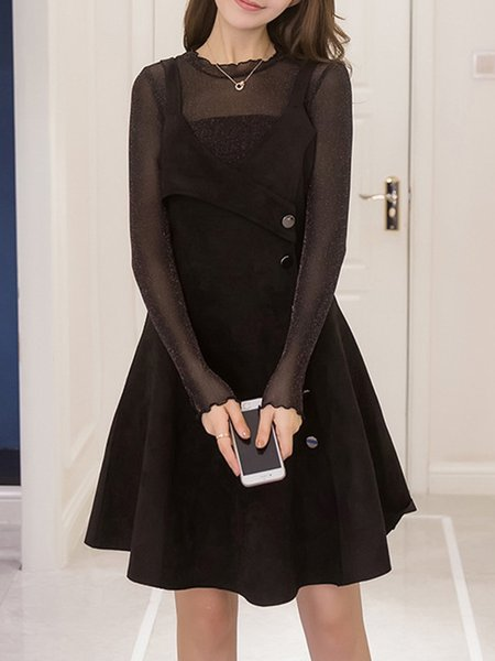 Black Long Sleeve Two Piece Dress