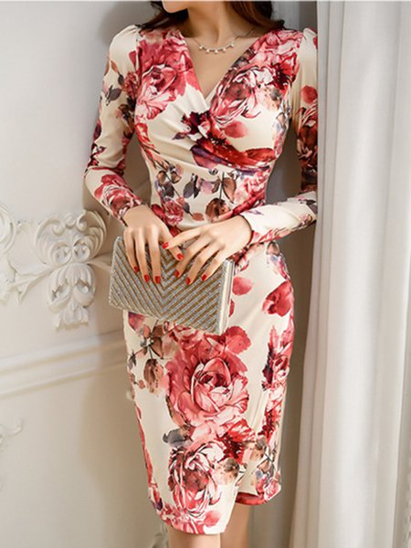 Red Sheath Cotton-blend Elegant Dress