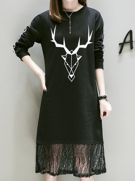 Black Long Sleeve Animal Shift Printed Dress