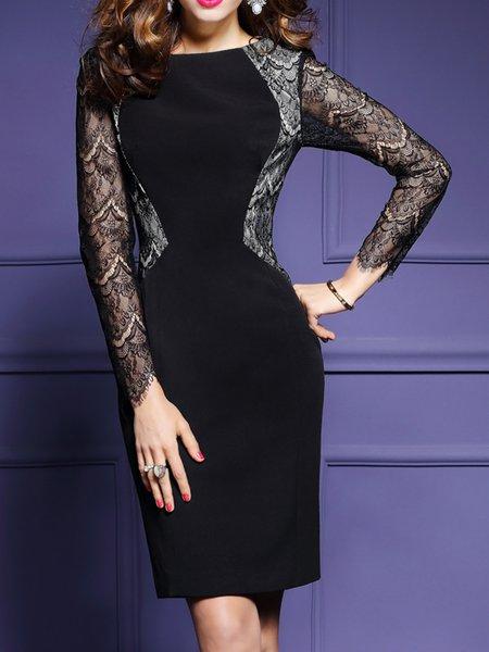 Sheath Crew Neck Lace Elegant Long Sleeve Dress