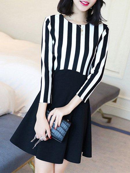 Black A-line Paneled Elegant Cotton-blend Dress