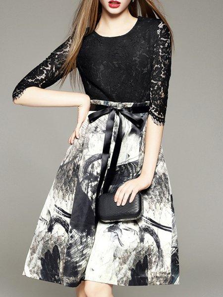 Black Crew Neck Printed Elegant Floral Dress