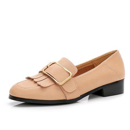 Microfiber Low Heel Buckle Slip On Loafers