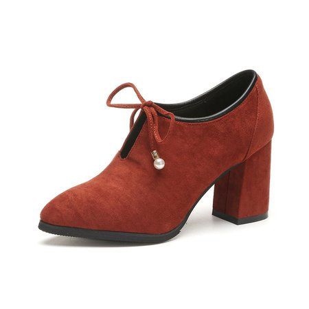 Chunky Heel Bowknot Suede Pumps