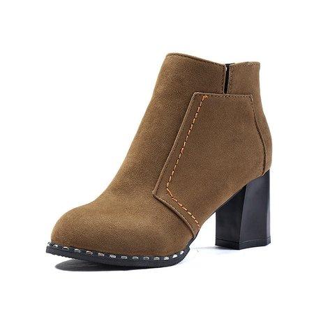 Chunky Heel Zipper Suede Martin Boots