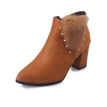 Rivet Flurry Chunky Heel Zipper Boots