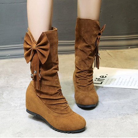 Bowknot Suede Wedge Heel Tassel Boots