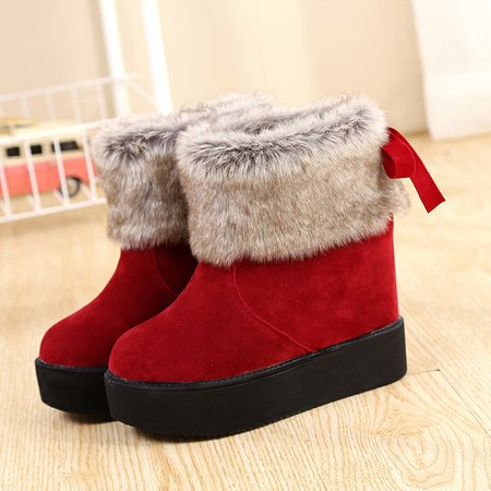 Flurry Suede Bowknot Wedge Heel Boots