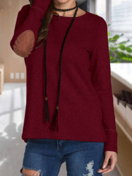 Casual Solid Cotton-blend Patch Sweatshirt