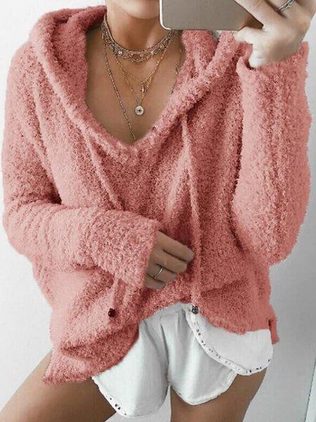 Long Sleeve Casual Cotton-blend Hoodie