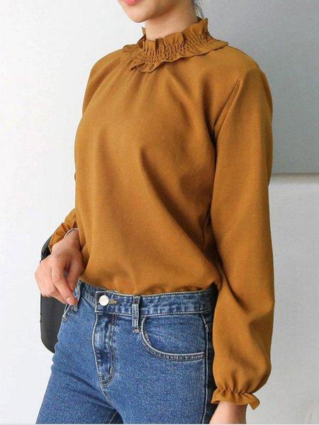 Solid Cotton-blend Long Sleeve T-Shirt