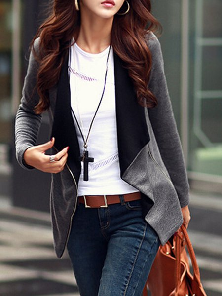 Gray Cotton-blend Casual Solid Jacket