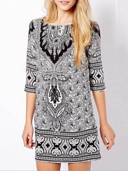 Gray Crew Neck Casual Printed Cotton-blend Dress
