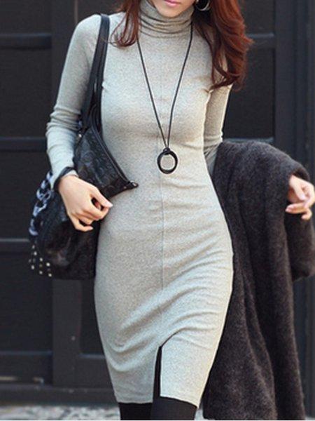 Turtleneck Cotton-blend Slit Casual Long Sleeve Dress