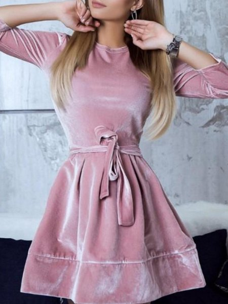 Crew Neck Solid Casual Cotton-blend Dress