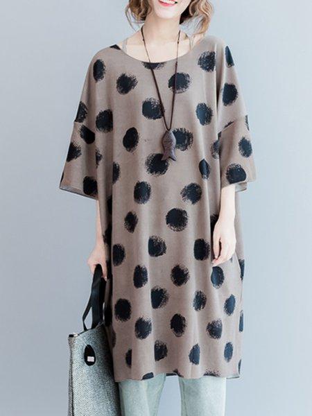 Printed Crew Neck Half Sleeve Cotton-blend Dress