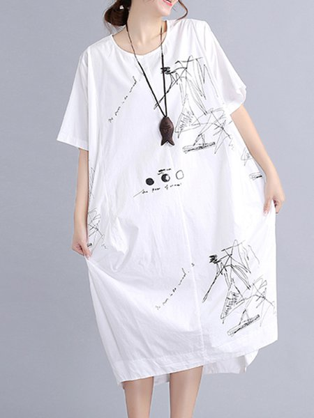 Crew Neck Short Sleeve H-line Casual Dress