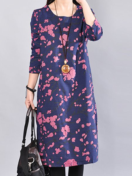 Vintage Shift Linen Floral Long Sleeve Dress