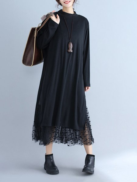 Long Sleeve Paneled Casual Cotton-blend Dress