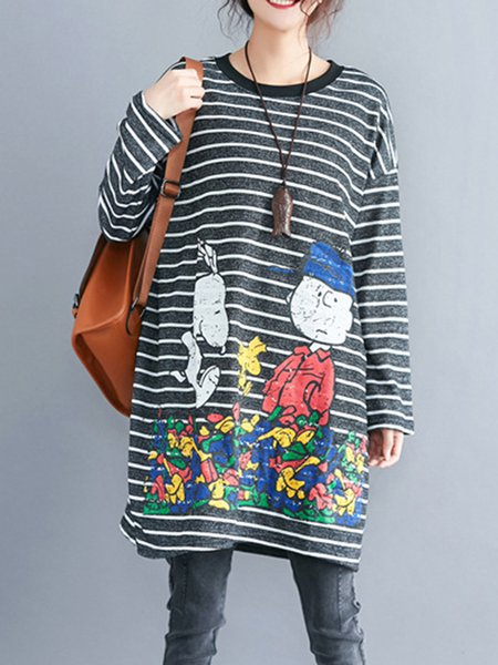 Casual Cotton-blend Long Sleeve Tunic Top