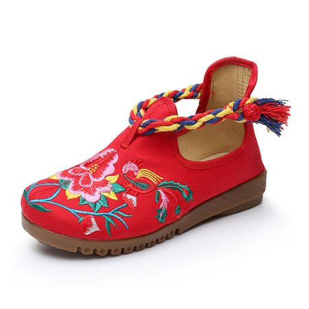 Braided Strap Canvas Flower Embroidered Loafers