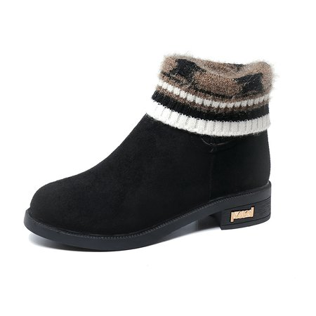 Knitted Paneled Suede Slip On Boots