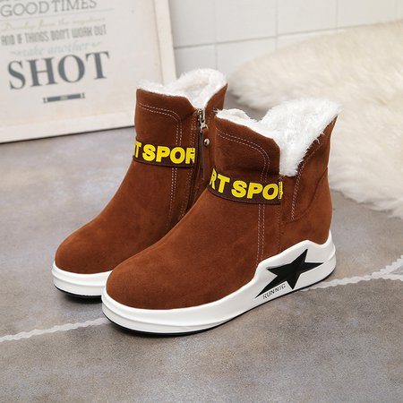 Letter Suede Zipper Fur Lined Slip On Boots