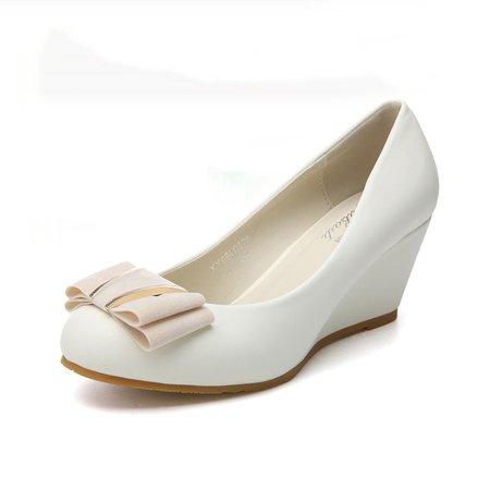 Bowknot Slip On Wedge Heel Shoes