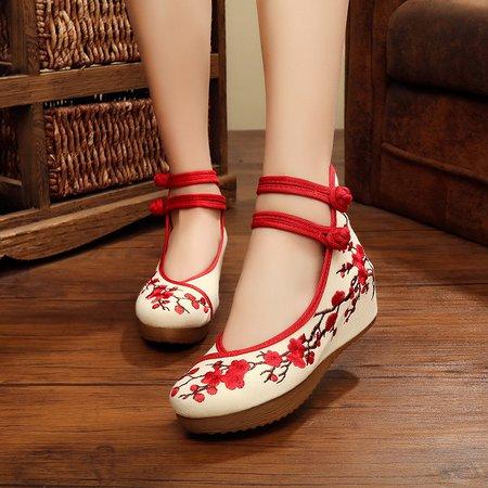 Flower Embroidered Button Strap Platform Shoes