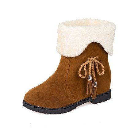 Bowknot Fur Lining Slip On Boots