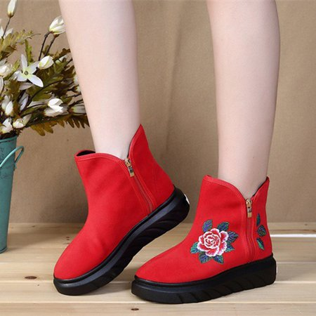 Flower Embroidered Suede Zipper Boots