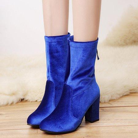 Elastic Zipper Velvet High Heel Boots