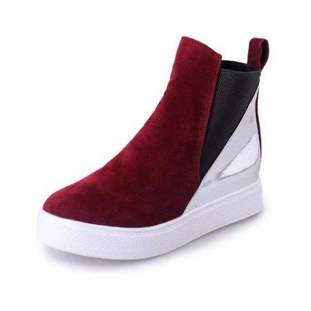 Elastic Slip On Suede Winter Color Block Boots